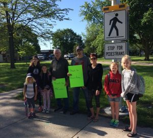 Students bid farewell to Dresden crossing guard Jim Cracknell. Photo courtesy of Jenelle Jackson-Finley.